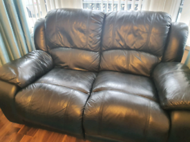 Black Leather sofa (genuine) ; 3 2 1 set