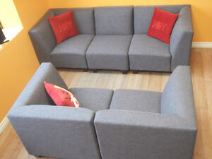 6 PC GREY RECEPTION AREA MODULAR SECTIONAL COUCHES - AS NEW Stratford Kitchener Area image 4