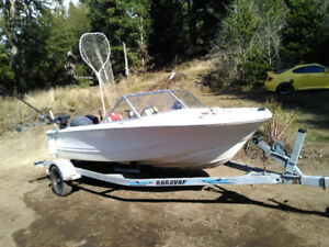 Complete fishing boat, 16' double eagle with 2017 kicker