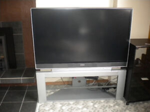 """hitach 55"""" rear projection TV and stand"""