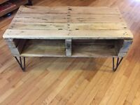 Rustic Solid Oak TV Stand on Hairpin Legs