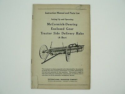 Enclosed Gear Tractor Side Delivery Rake Manual Parts Mccormick Deering 1945