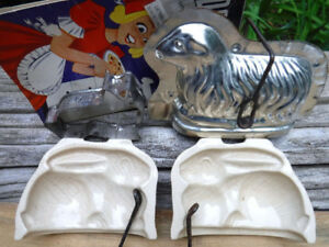 VINTAGE BAKING MOULDS ADVERTISING COOKIE CUTTER RABBITS SHEEP