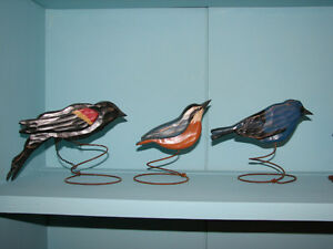 Hand Carved and Painted Wooden Birds on Wire Springs