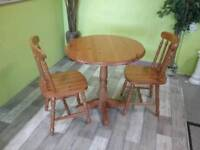 Circular / Round Pine Table & Pair Of Chairs - Can Deliver For £19