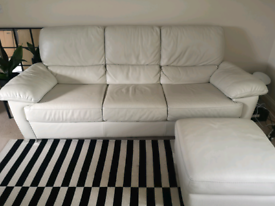 Cream Italian leather 3 seater sofa with ottoman footstool