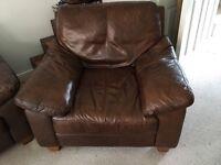 Brown Leather Sofa + Armchair