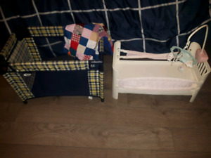 Baby doll, crib and playpen