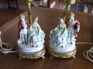 Pair of Victorian Figurine Porcelain Table Lamps