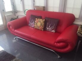 Set of 3 red Sofa (3 + 2 + 2 seater)