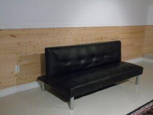 sofa divan lit en simili cuir noir
