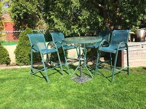 Pub-Style patio furniture with umbrella stand