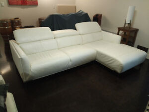 Sectional (creamy-white leather)