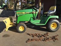 john Deere 176 law tractor with snow blade