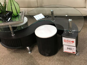 Coffee Table with storage & 2 stool ottomans