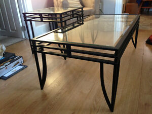 Glass coffee table and 2 end tables.