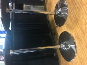 Round Display Pub Table Chrome Leg with Black Leather Top
