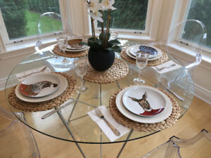 Maison Corbeil 48 inches glass and chrome round table