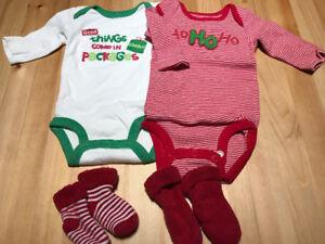 2 Christmas onesies with 2 pair of socks