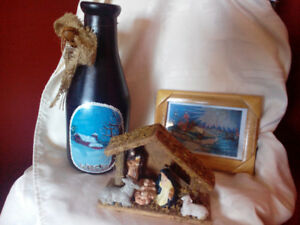 Hand painted milk bottle, manger and small Christmas picture