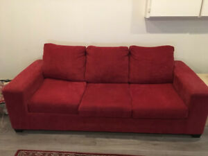 Stunning Red Sofa Like New ..Also Queen and Double storage beds