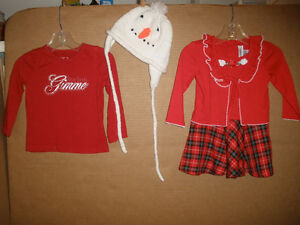 Xmas Dress, Santa Long Sleeve, Snowman Hat.  Size 18 mos