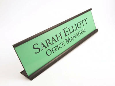 Personalized Desk Name Plate Nameplate Green With Black Aluminum Holder 2x8