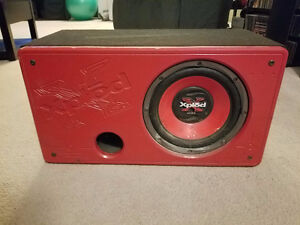 """10"""" Sony Xplod Subwoofer With Alpine Amp and Rockford Cap."""