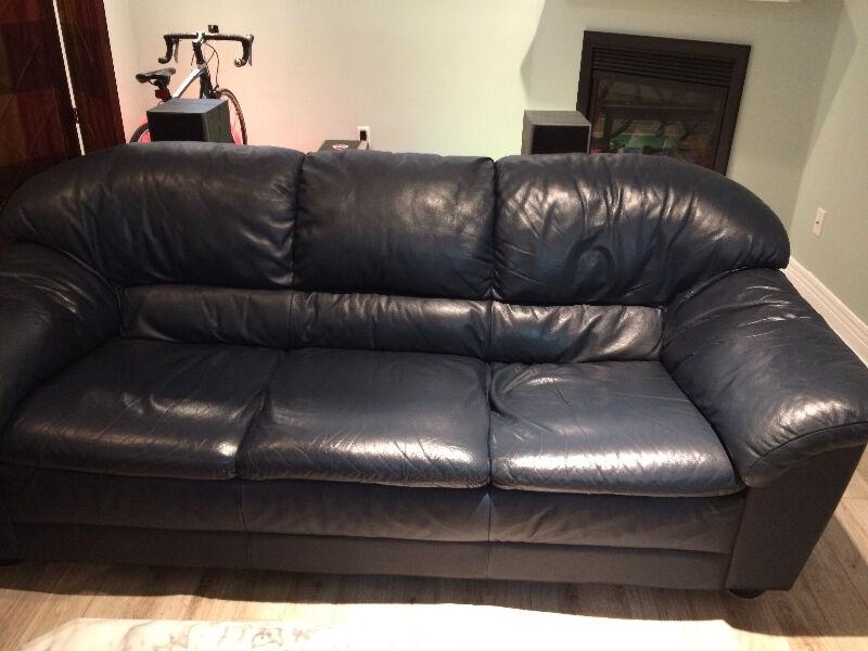 Natuzzi 100 Leather 3 Seat Sofa Dark Blue Couches