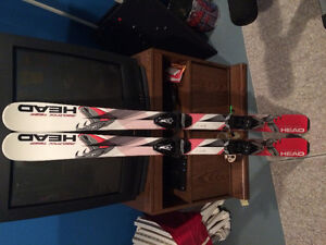 Skis with bindings and poles