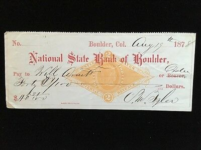 U S  Used Check  Rng1 1878 National State Bank Of Boulder Co