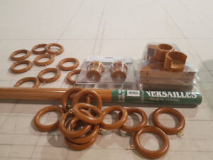 Sets of wood drapery rods