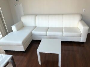 Leather sectional sofa and coffee table