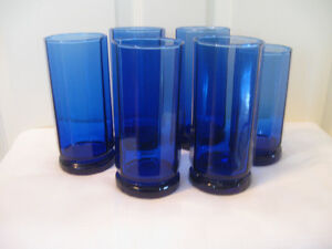 BRILLIANT 6-PIECE SET of COBALT BLUE GLASS WATER TUMBLERS