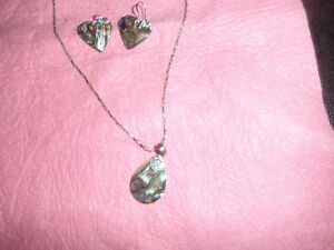 abalone set in sterling silver 925-- pendant and earrrings.. 20.