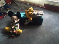 Travel cot, Mickey Mouse teddies,cover,play mat