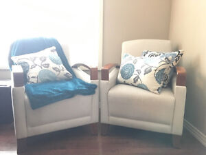 FABRIC AND WOOD LOUNGE CHAIRS $300/each