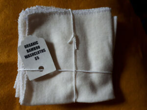Organic Bamboo Wash Cloths, pack of 3, NEW