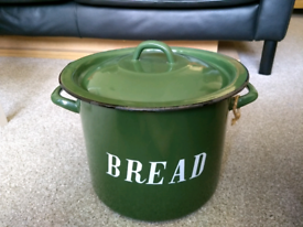 Marks And Spencer Ceramic Bread Storage Bin Retro Circular Dark Green