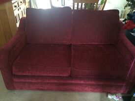 Dark red comfy double sofa bed