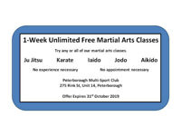 One free week of  Martial Arts - Till 31 October 2019
