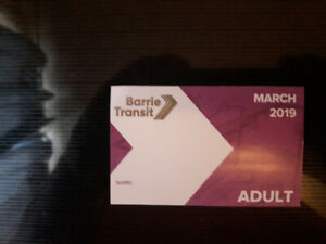 Barrie City Transit pass for March 2019