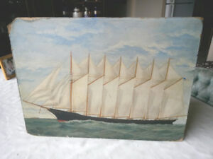 EXCEPTIONAL MARINE OIL PAINTING ON BOARD THOMAS LAWSON SIGNED