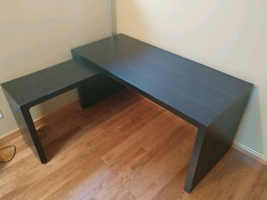 IKEA Malm Desk - Black Brown with sliding table