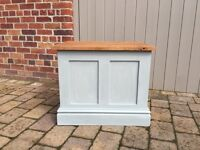 Bespoke handmade heavy storage box with oak top painted with Annie Sloan chalk p