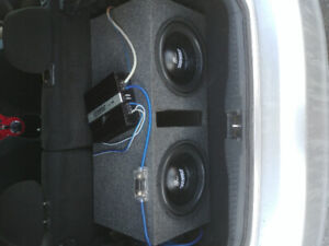 Two 12 inch subs, amp and battery full set up