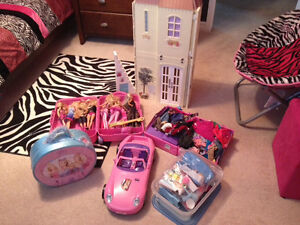 LOT of BARBIE Toys - Talking House, Barbies, Clothing, Car,