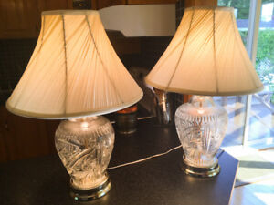 Pair of crystal Lamps for sale
