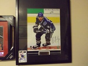 ALEX BURROWS FRAMED HOCKEY PIC & CARD SINGED PLUS OTHERS