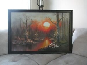 Large Oil Painting with Wood Frame